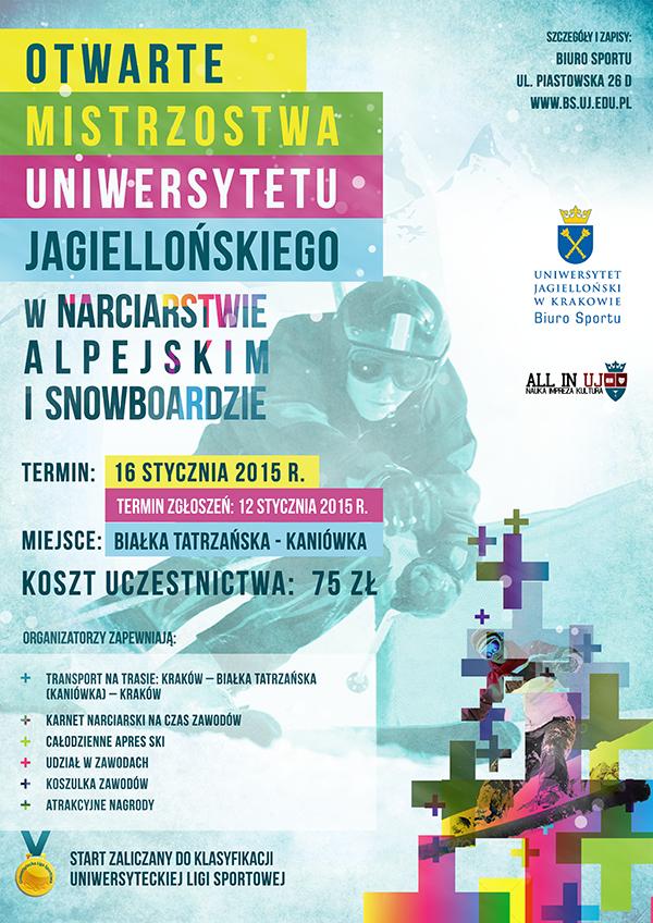 Plakat OMUJ w narciarstwie i snowboardzie