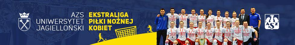 Baner reklamujący rozgrywki w piłce nożnej kobiet PZPN Ekstraliga