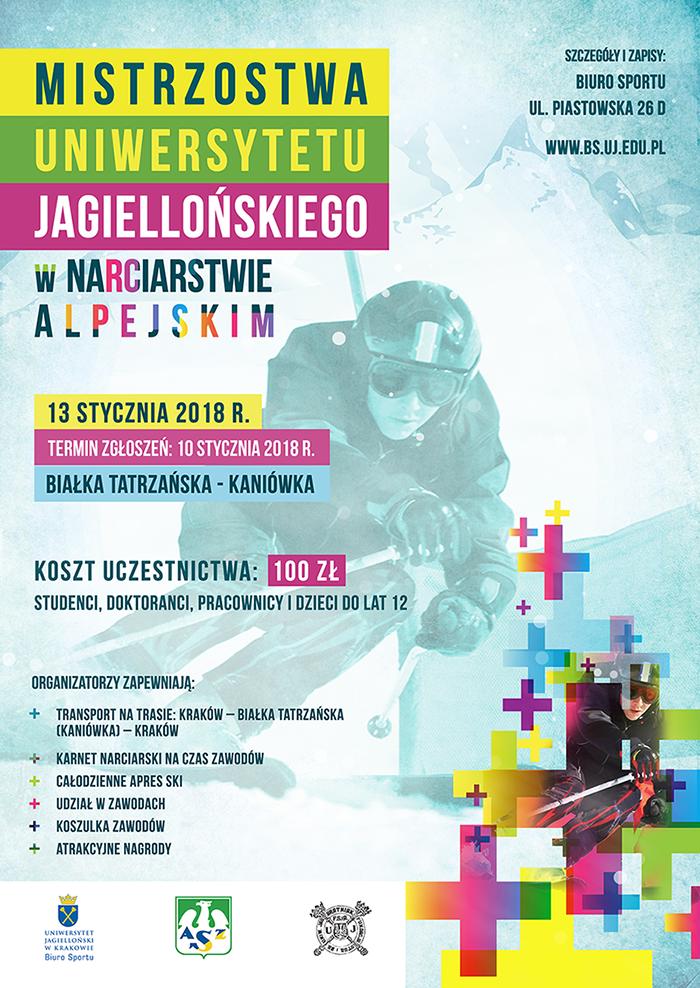 Plakat Mistrzostw UJ w narciarstwie