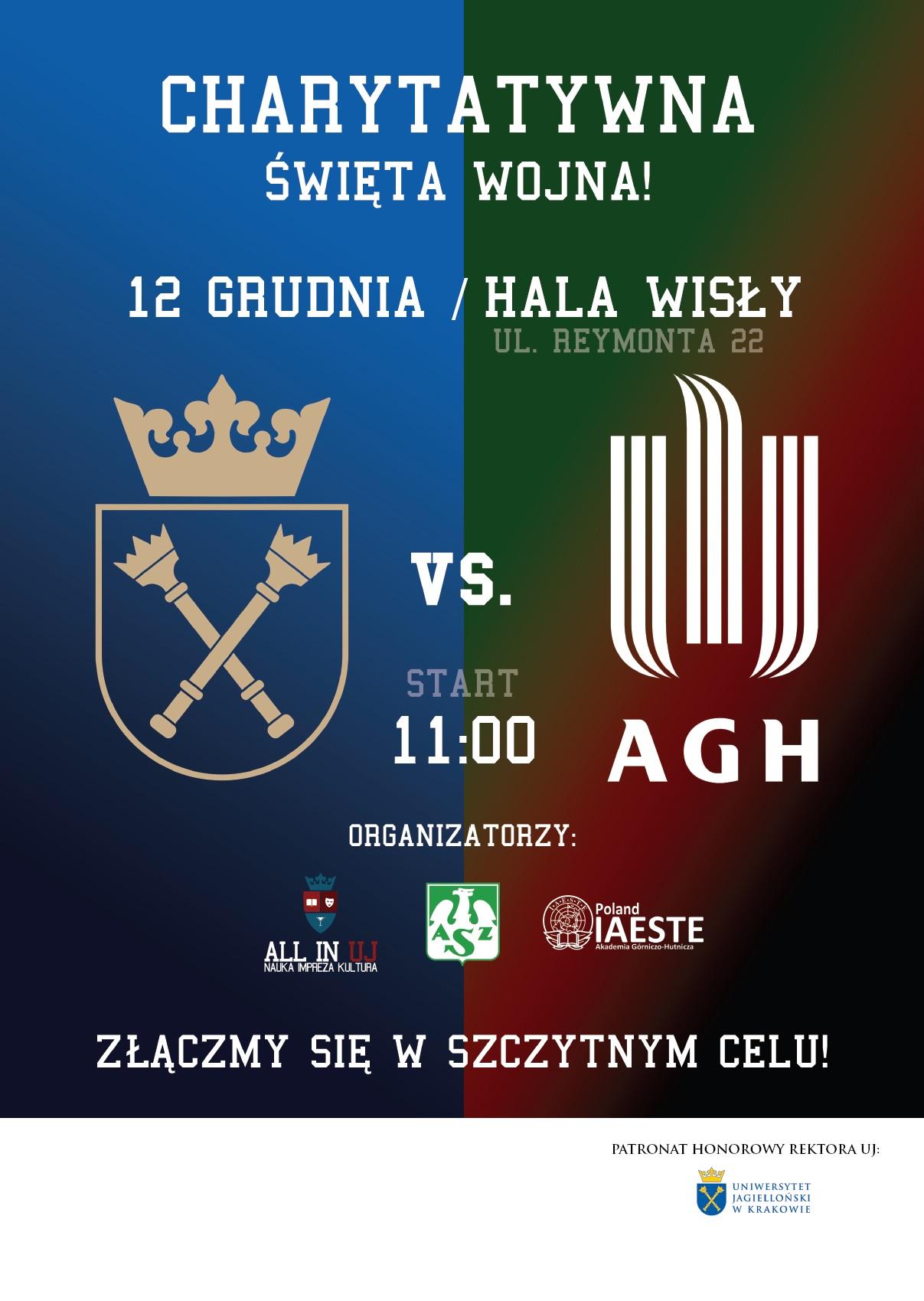 Plakat - UJ vs. AGH - Charytatywna Święta Wojna!