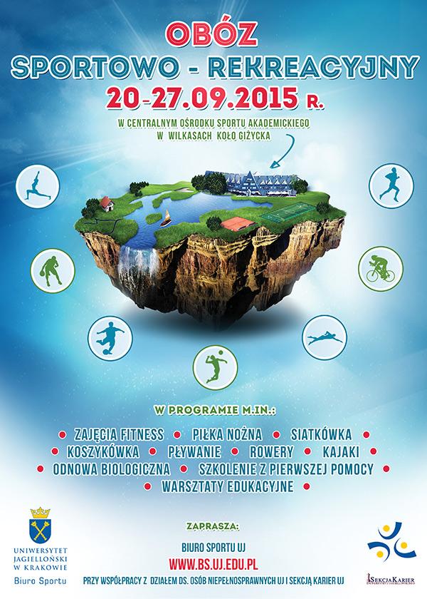 Plakat Obozu sportowo-rekreacyjnego w Wilkasach