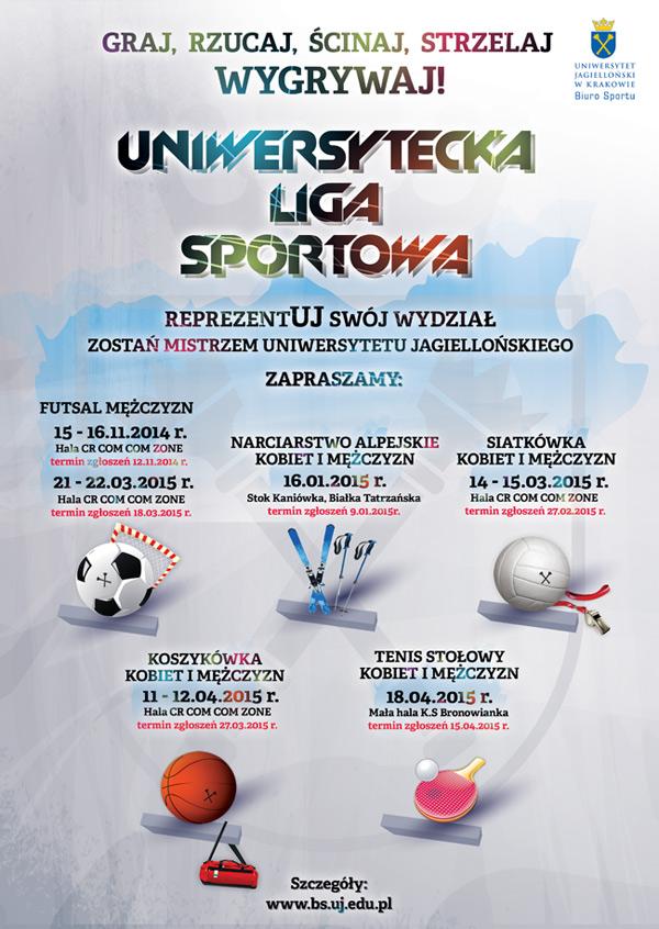 Plakat Uniwersyteckiej Ligi Sportowej 2015