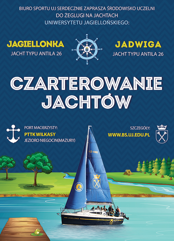 Plakat - czarter jachtów uniwersyteckich Jagiellonka i Jadwiga
