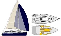 Rzut techniczny wymiarów jachtu uniwersyteckiego