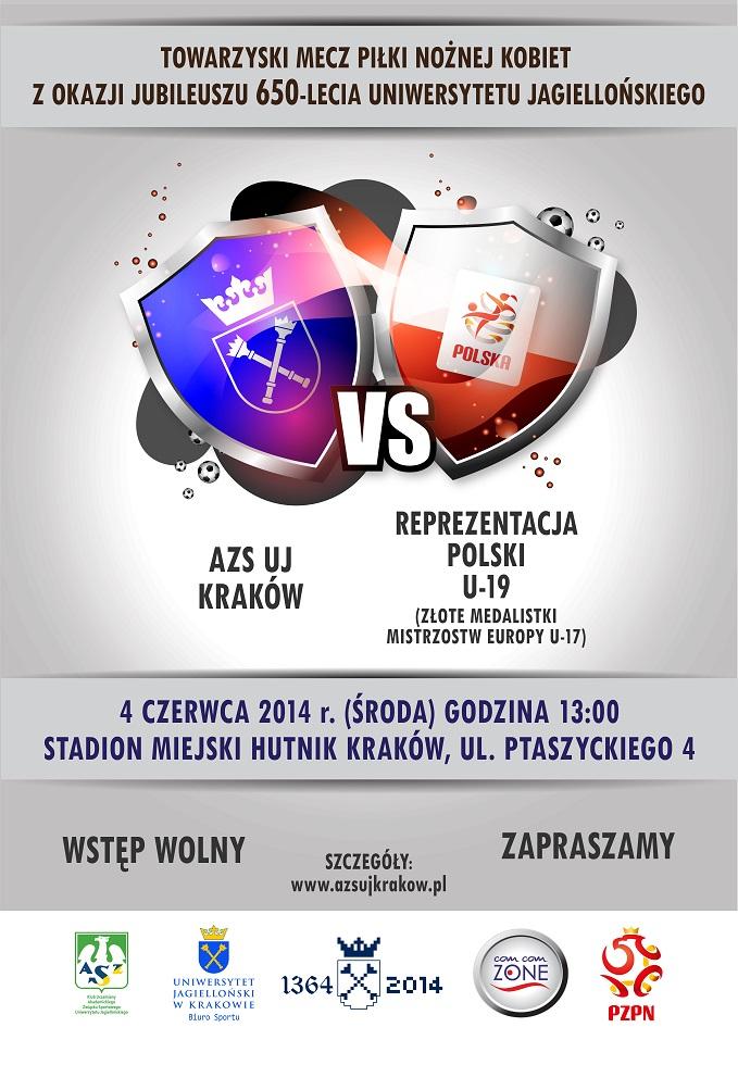 Plakat Towarzyski mecz piłki nożnej kobiet z okazji jubileuszu 650-lecia UJ