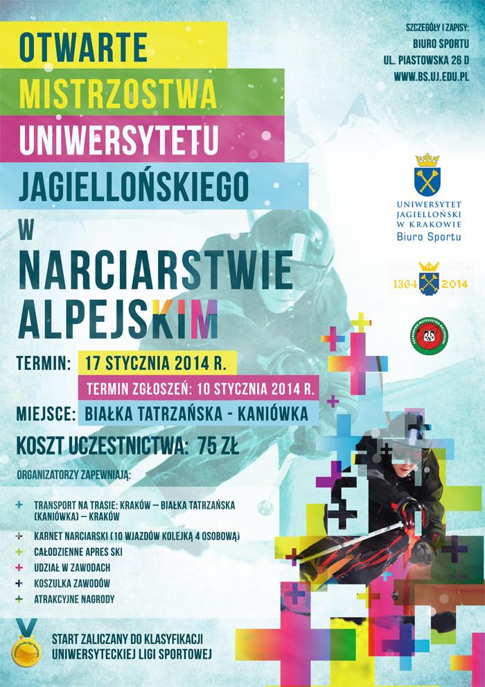 Plkat Otwartych Mistrzostw Uniwersytetu Jagiellońskiego w narciarstwie alpejskim
