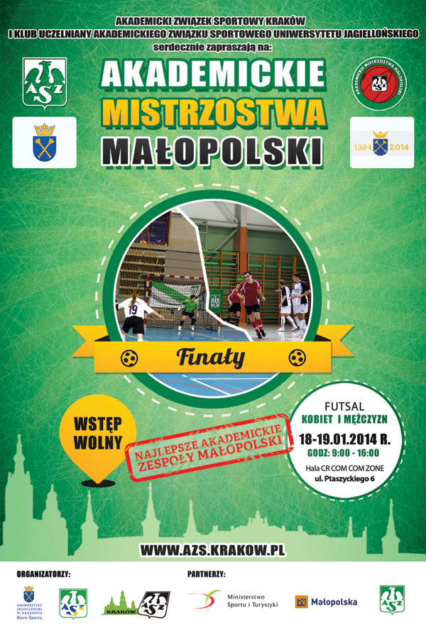 Plakat Finałów Akademickich Mistrzostw Małopolski w futsalu kobiet i mężczyzn